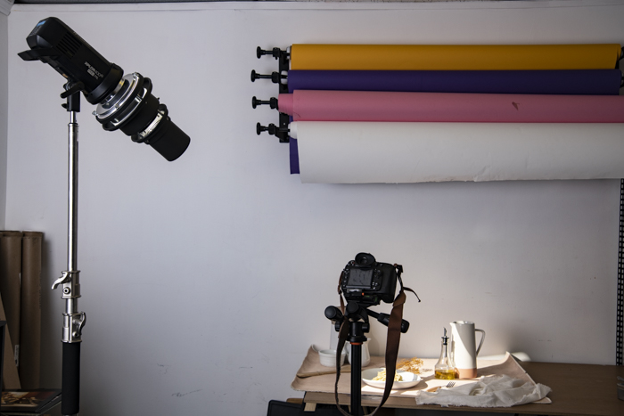 A product photo shoot using a lighting gobo for photography