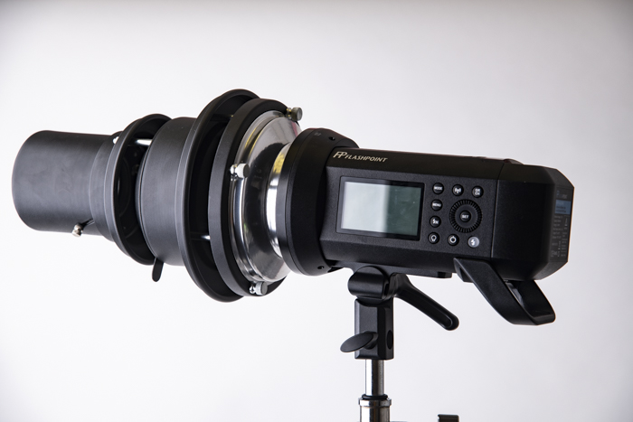 a lighting gobo for photography attached to a DSLR