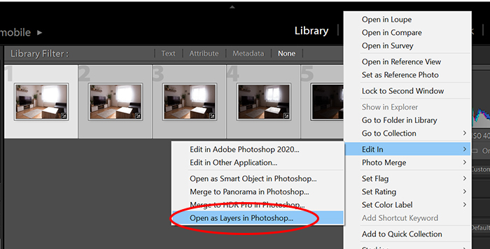 A screenshot of opening a layer in Photoshop