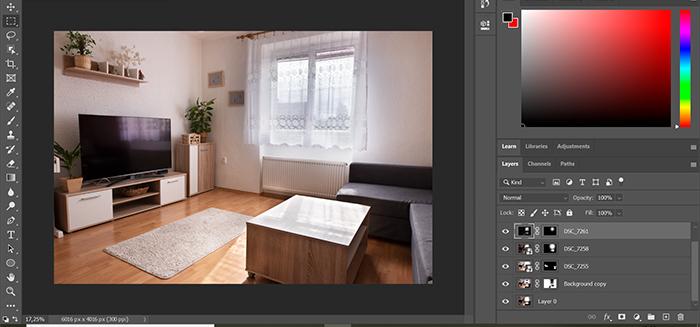Captura de tela da edição de fotos de imóveis HDR no Photoshop