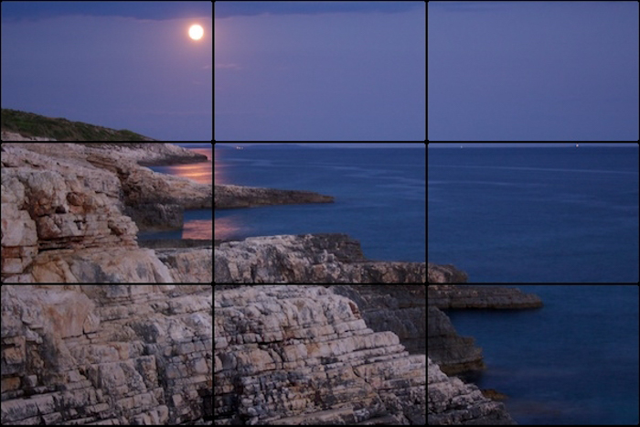 A landscape photo with rule of thirds grid overlayed