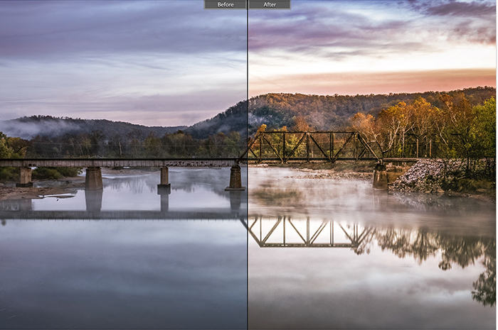 A landscape photo splitscreen to show before and after editing with landscape photography prests