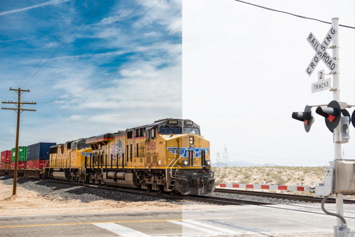 Split screen photo of a train comparing the difference between shooting in jpeg and raw