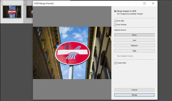 Uma captura de tela do uso da mesclagem HDR do Lightroom