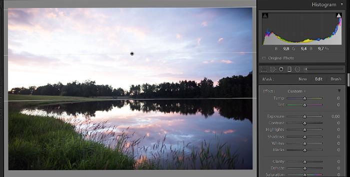 Captura de tela da edição da exposição em uma foto de paisagem no lightroom