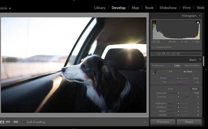 Uma captura de tela do reparo de uma foto superexposta no Lightroom