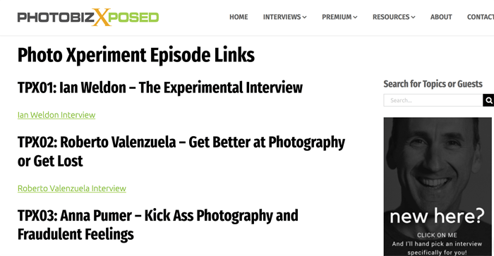Screenshot of 'photobiz exposed' photography podcast playing in an app