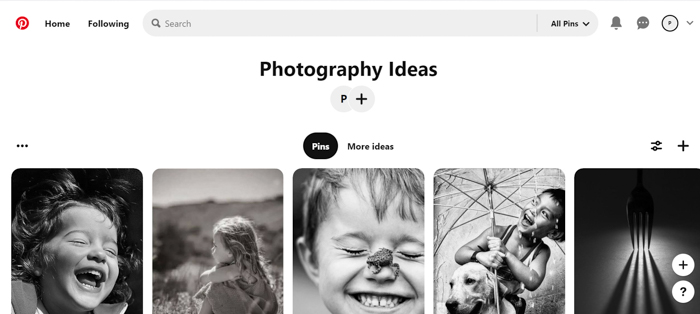 Captura de tela da biblioteca de imagens do Pinterest