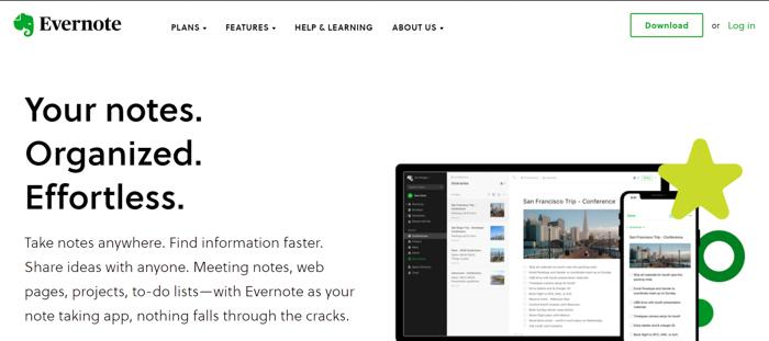 captura de tela do site do Evernote para criar um painel de humor