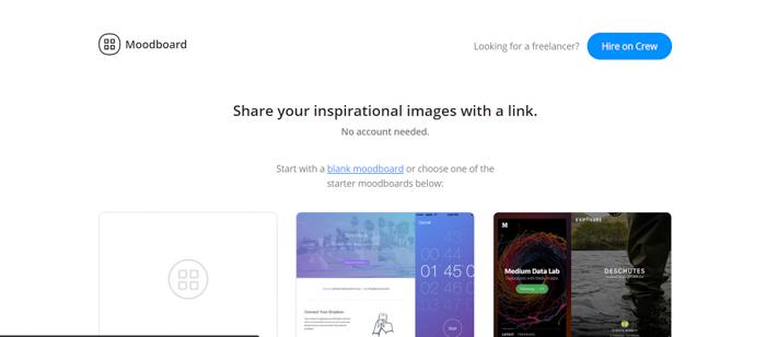 Captura de tela do site GoMoodboard