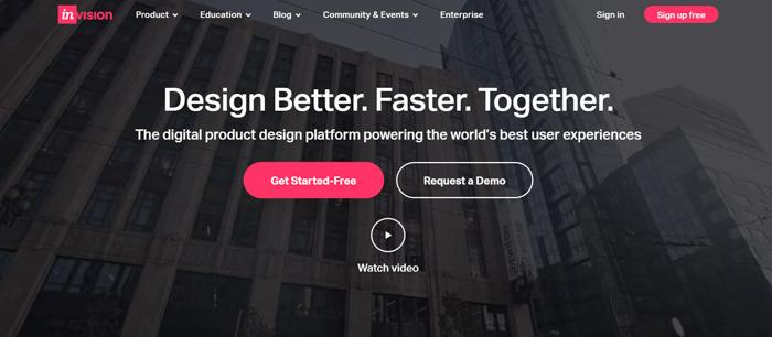 Captura de tela do site InVision para criar um moodboard digital