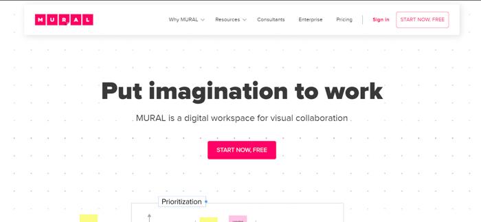 Captura de tela do site do Mural para fazer moodboards