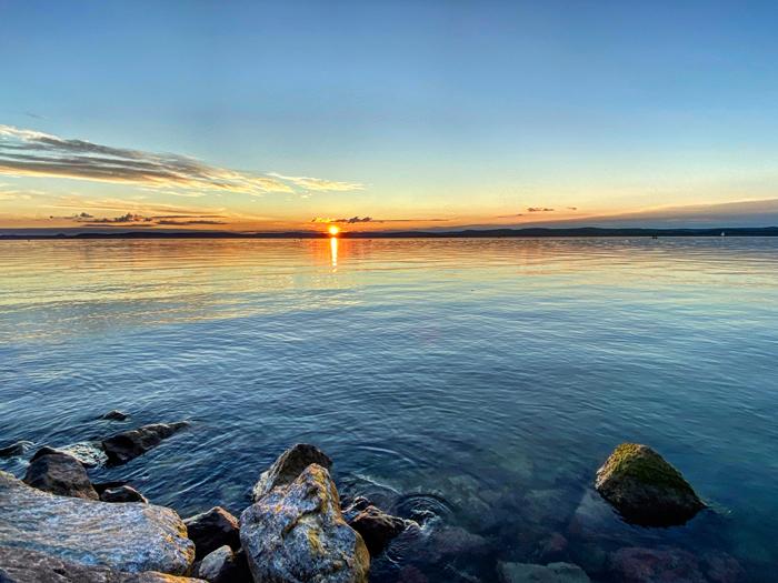 A stunning sunset at sea