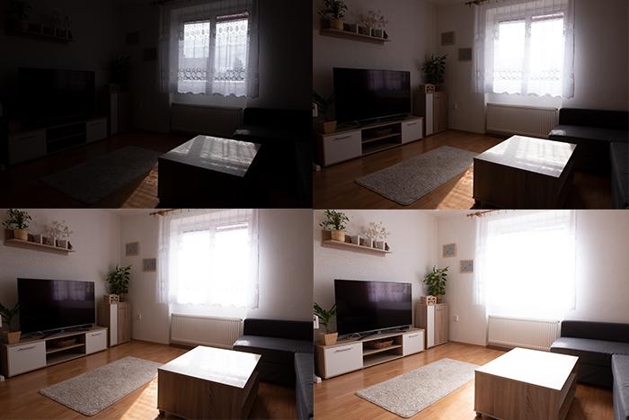 Grade de quatro fotos de fotografia imobiliária com iluminação diferenciada.