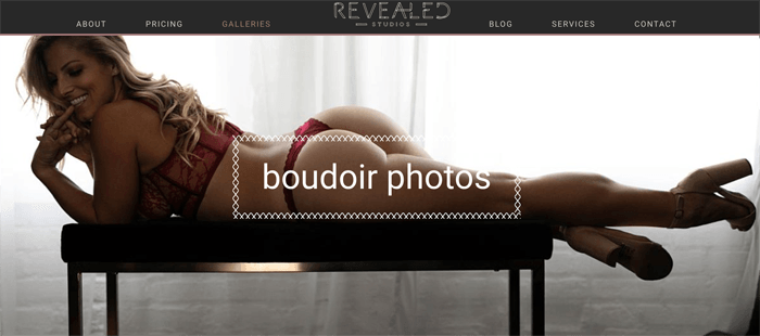 Captura de pantalla del blog de fotografía Revealed Studios