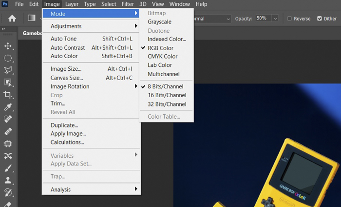 Checking rgb vs cymk color profile in photoshop