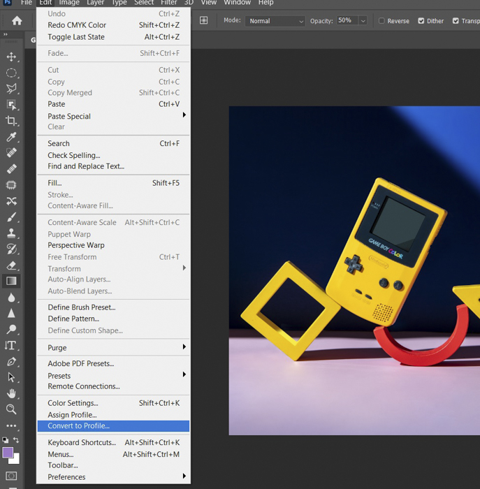 A screenshot showing how to convert a rgb file on Photoshop
