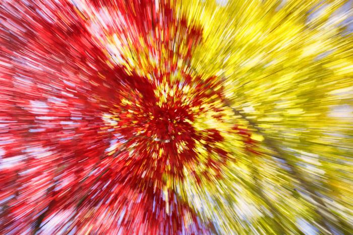 Uma explosão abstrata de zoom de folhas vermelhas e amarelas durante o outono