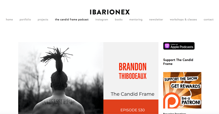 Screenshot of 'ibarionex' photography podcast playing in an app