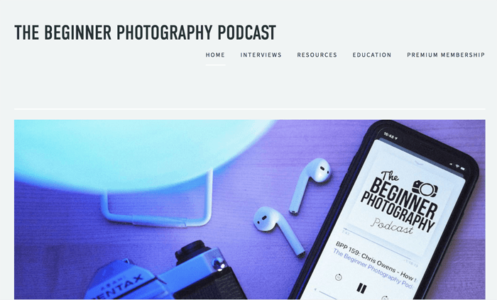 Screenshot of 'the beginner' photography podcast playing in an app