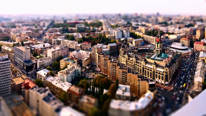 panorama de uma cidade usando uma lente tilt shift