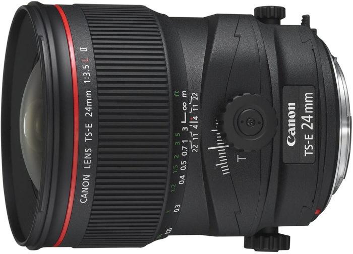 Uma imagem de uma lente tilt shift Canon-TS-E 24 mm