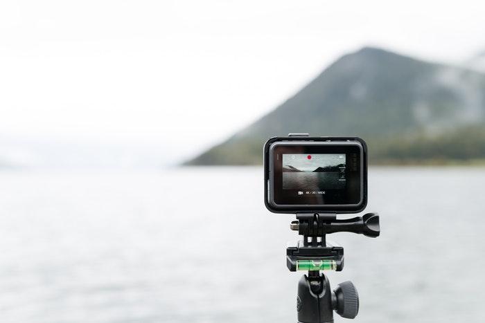 A GoPro on a tripod