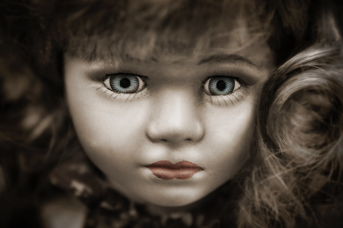 Close-up retrato de um rosto de boneca