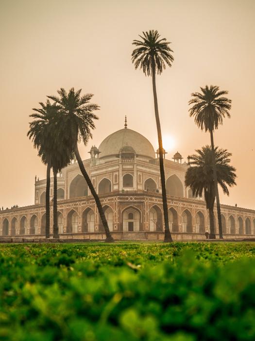 O taj-mahal na Índia, visto com uma perspectiva de dois pontos