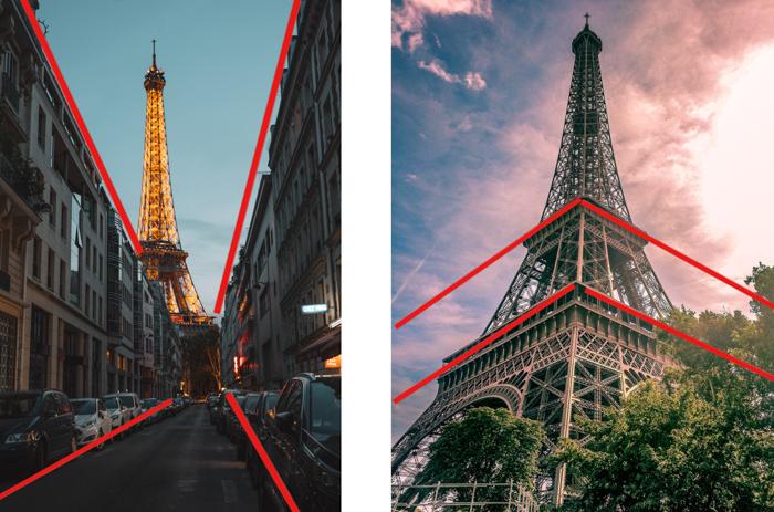 comparação entre a perspectiva de um e dois pontos, usando imagens da torre eiffel