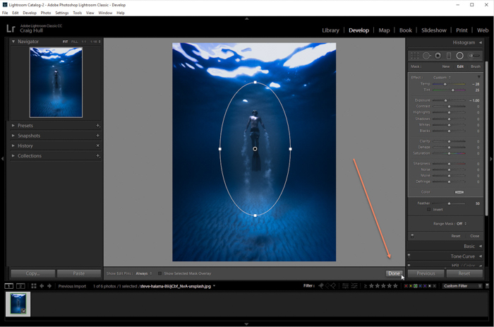 A screenshot of how to add a vignette to an image in Lightroom