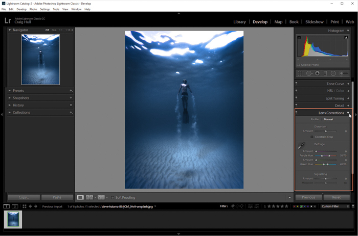 A screenshot of editing an image in Lightroom