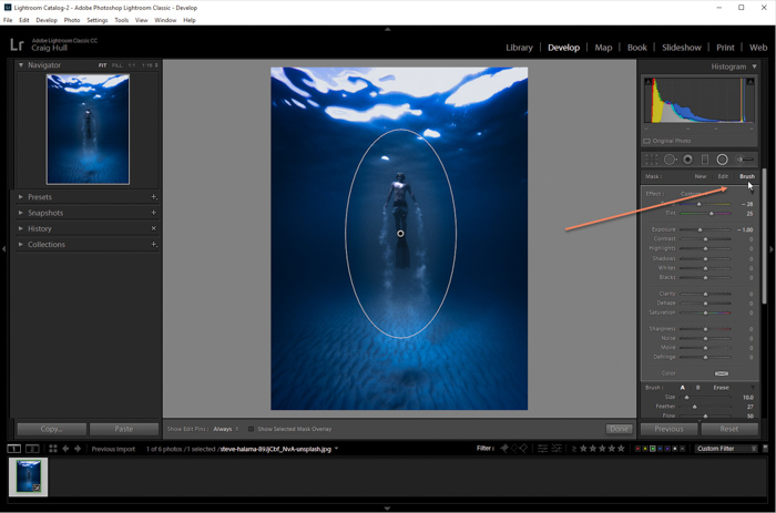 A screenshot of how to add a vignette in Lightroom