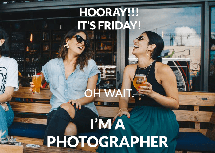 Photo of two women overlayed with a photography joke