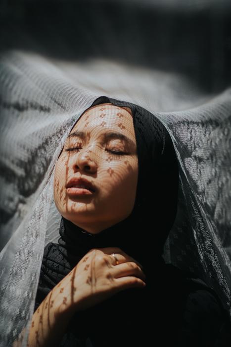portrait of a woman in a headscarf