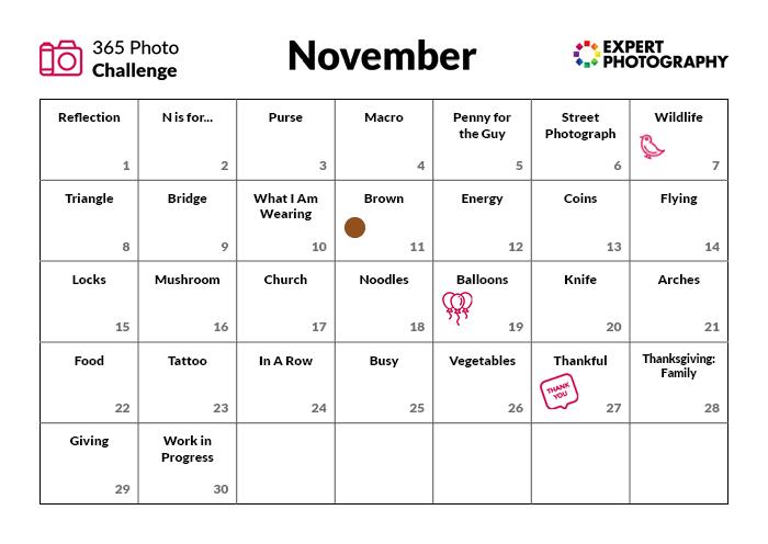 Novembro Photo Challenge Calendar