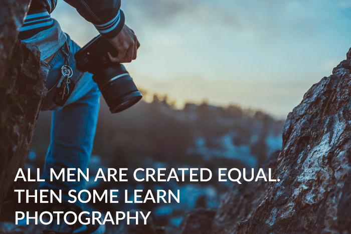 Photographer joke over a photo of a mountain climbing photographer
