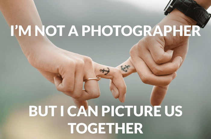 Photography joke over a photo of a couple joining fingers