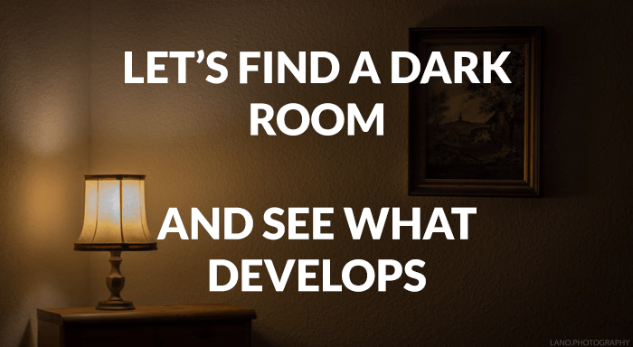 Photography joke over a photo of a dark living room