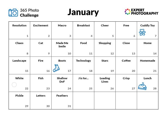 Calendário do Desafio de Fotografia de Janeiro