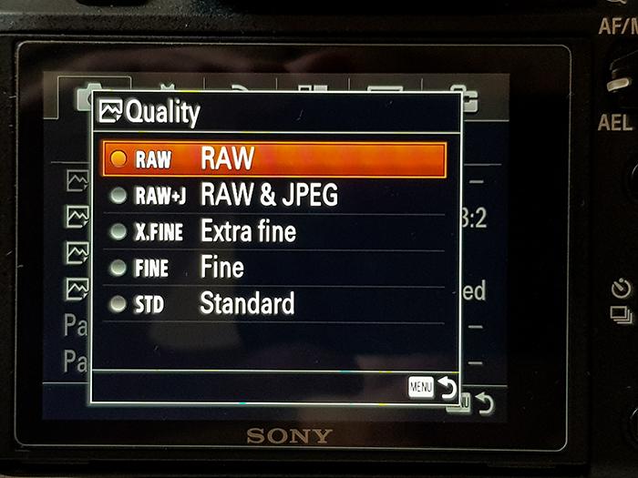 uma captura de tela do menu de qualidade de uma câmera Sony