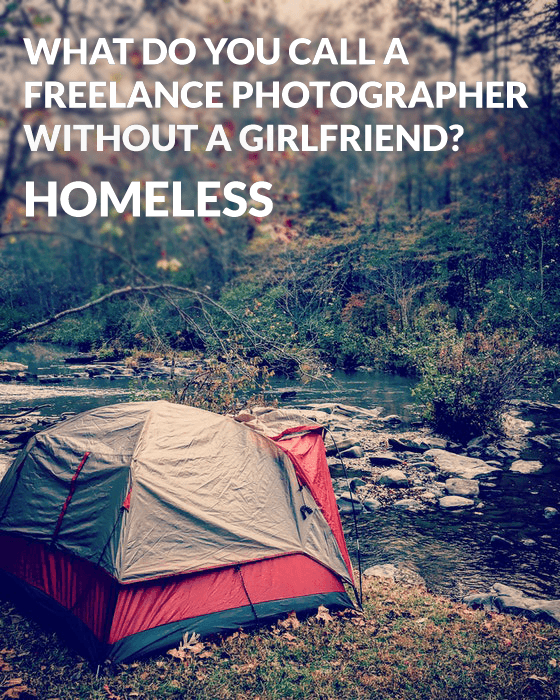 Photography puns over a photo of a campsite