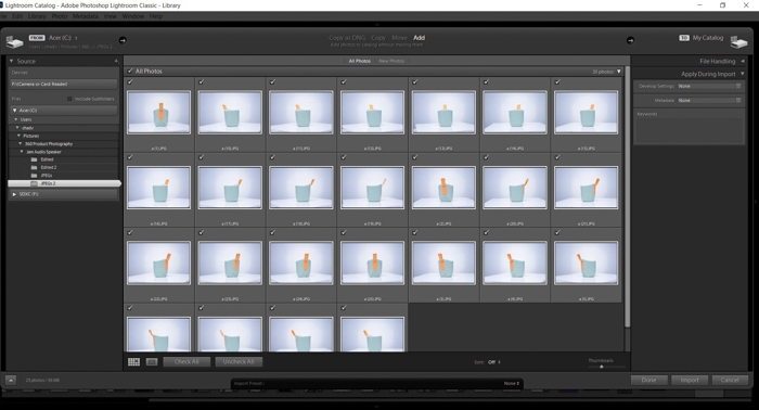 Screenshot of importing images to Lightroom