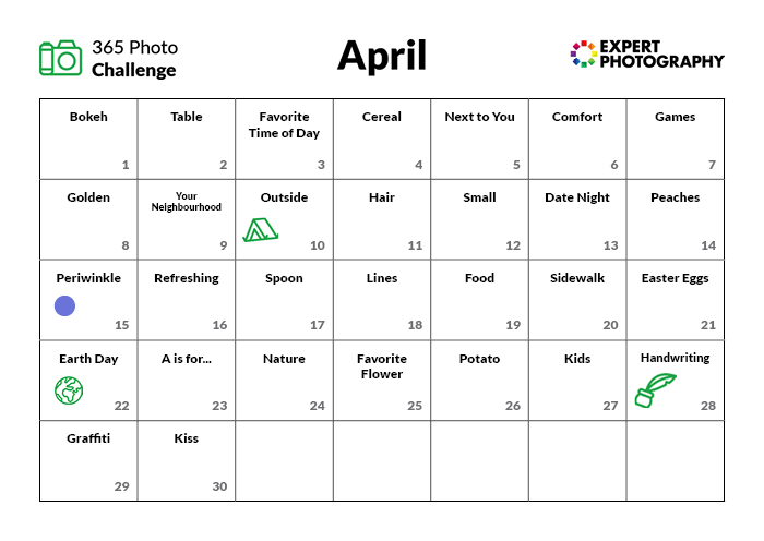 April Photo Challenge Calendar