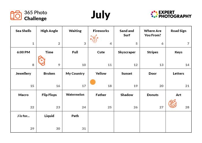 Julho Photo Challenge Calendar