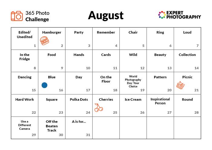 Agosto Photo Challenge Calendar