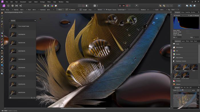 A screenshot of photoshop alternative editing program Affinity interface