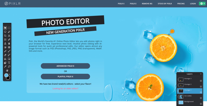 A screenshot of thephoto editing software Pixlr interface