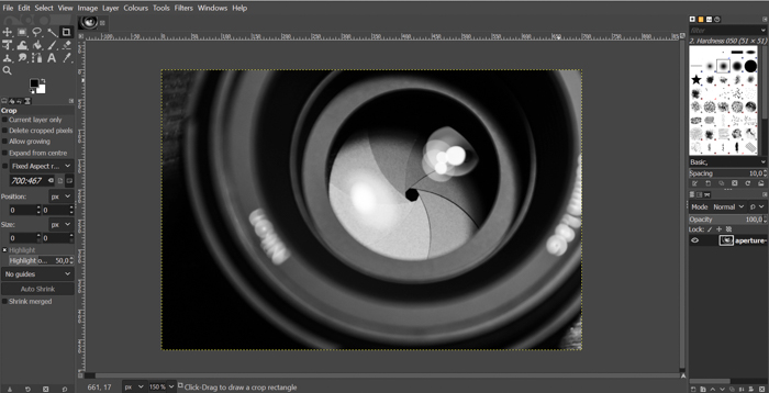 A screenshot from GIMP photo editing software