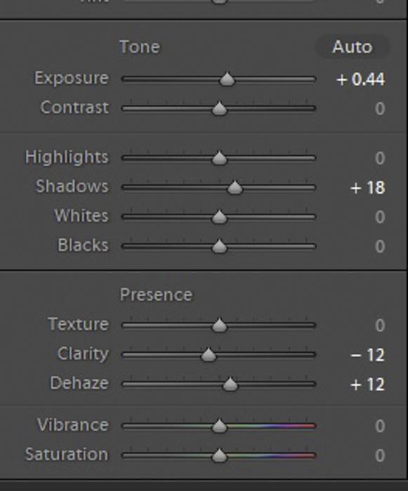 Uma captura de tela da edição das configurações de exposição no Lightroom